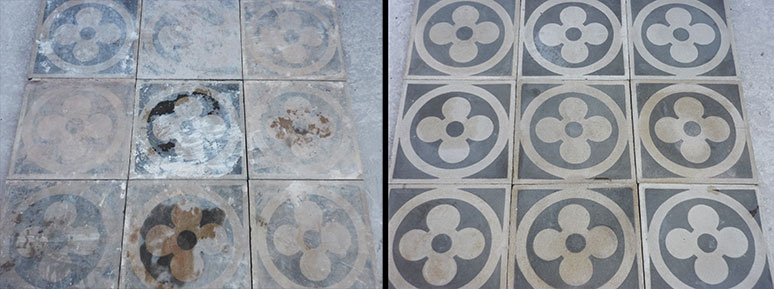 Restauro pavimenti antichi cementina graniglia romano pavimenti - Squadra per piastrellisti ...